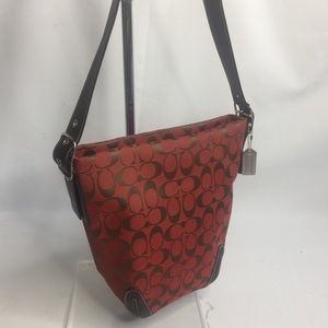 COACH Hobo Duffy jacquard /Leather 6076 red/brown
